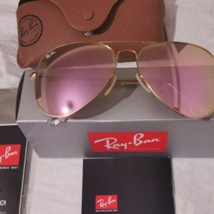 New Ray-Ban 3026 62mm Golden Pink Sunglasses